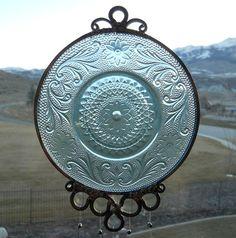 Bicentennial Blue  1976  Vintage Glass Saucer by wearetheedge