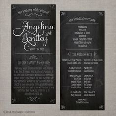Angelina -  Vintage Wedding Chalkboard Program. $1.99, via Etsy.