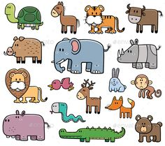 Buy Wild Animals by SARAROOM on GraphicRiver. Vector Illustration of Cartoon Wild Animals set Doodle Art, Doodle Drawings, Animal Drawings, Cute Drawings, Easy Drawings For Kids, Drawing For Kids, Art For Kids, Animal Doodles, Dibujos Cute
