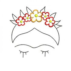 Frida Kahlo Machine Embroidery Designs – Applique Embroidery Design 52 - Flowery Tutorial and Ideas Flower Embroidery Designs, Simple Embroidery, Paper Embroidery, Vintage Embroidery, Embroidery Applique, Embroidery Stitches, Local Embroidery, Pearl Embroidery, Embroidery Online