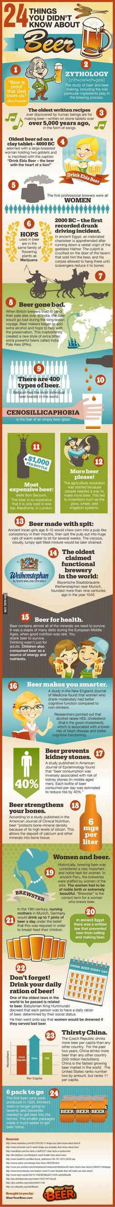 24 things you didn't know about beer--I knew there was a reason I love it so much ;)