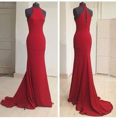 Charming Prom Dress,Sexy Sleeveless Red Mermaid Prom Dress,Long