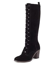 Suede Lace Up Knee Boots with Insolia®