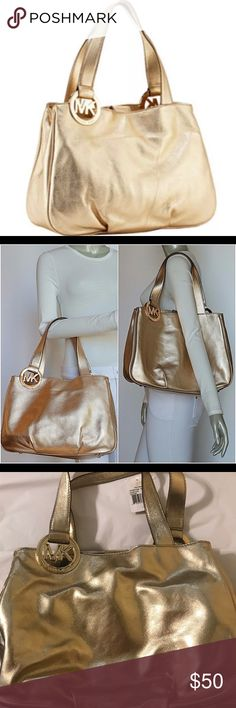 """Michael Kors Gold Fulton Handbag Michael Kors Fulton Handbag in Gold.  16"""" Wide x 5"""" Deep x 12"""" Height (excluding handles, which add an additional 9""""). Snap Closure with Large Zippered Middle Compartment & 4 Interior Side Pockets.  New w/Tags. Originally Sold For $299. Michael Kors Bags Shoulder Bags"""