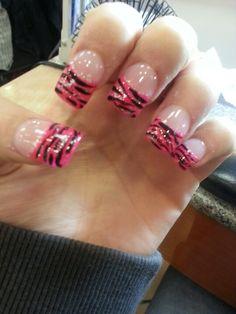 Hot pink zebra with glitter on solar gel nails! I love the gel polish, because it lasts longer than regular nail enamel.