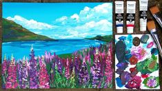 Acrylic Lupine Landscape Painting Tutorial // Real Time Beginner Friendly