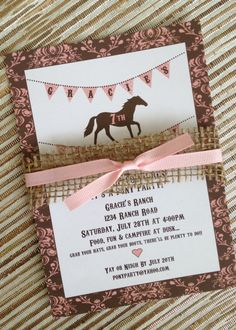 Horse Burlap Pony Floral Pink Teal cowgirl third shabby