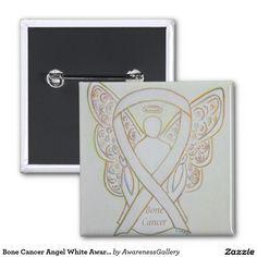Bone #Cancer White Angel Awareness Ribbon Pins #BoneCancer