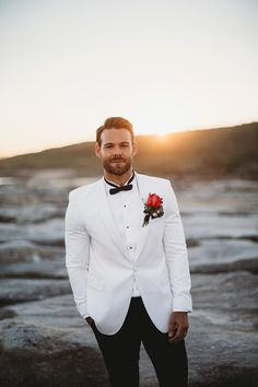 Luxe Coastal Wedding Inspiration - Groom Suit, Dress and Accessories , Luxe Coastal Wedding Inspiration Wedding. White Tuxedo Wedding, Groom Tuxedo Wedding, Black Suit Wedding, Wedding Tuxedos, Groom And Groomsmen Attire, Groom Wear, Groom Outfit, Groom Suits, The Groom