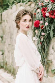 Puffy Long Sleeve Greek Sexy Backless Chiffon Beach Bridal Gown-715391