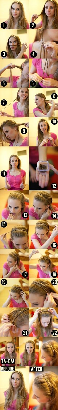 braid your hair and use it as a headband | hairstyles tutorial  Thinking of doing this but once I've got my three braids loosely braid them together over your head