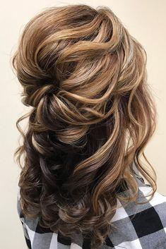 Wedding Hair Half, Hairdo Wedding, Wedding Hair And Makeup, Bridal Hair, Mother Of The Bride Hairstyles, Fancy Hairstyles, Curly Hairstyles, Medium Hair Styles, Short Hair Styles