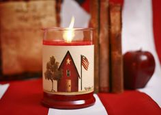 Large Red House, Tree, Flag Candle Wrap #22 - www.thisilldocreations.com