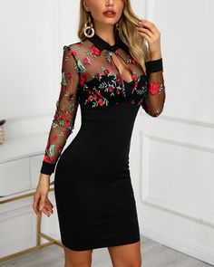 Women's Fashion Bodycon Kleider Online Shopping – Chic Me Robe Bodycon, Bodycon Dress With Sleeves, Sheer Dress, Mesh Dress, Dress Long, Lace Dress, Dress Outfits, Fashion Dresses, Dress Clothes