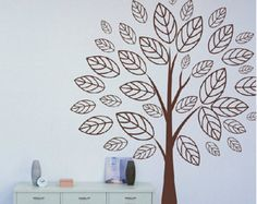 Tree wall decal nursery wall decal, Brown tree wall sticker, Vinyl art, Children Nature design decals- Housewarming gift idea-6893