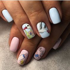 Nails during pregnancy Nails for young mothers Nails with stickers Pastel nails Slider nails Two color nails Youth nails Nail Art Design Gallery, Best Nail Art Designs, Acrylic Nail Designs, Baby Nail Art, Baby Nails, Two Color Nails, Nail Colors, Pastel Nails, Pink Nails