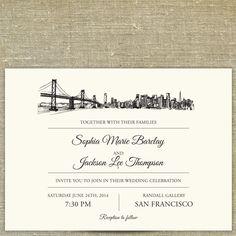 San Francisco Skyline Destination Wedding By Pixiechicago On Etsy 8 00 Invitation Samples