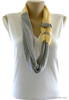 t shirt scarf knotted gray and yellow