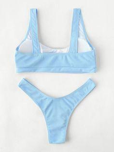 High Leg Scoop Neck Bikini Set