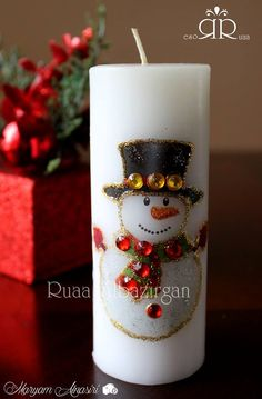 Christmas & New Year Candles by Ruaa Rose Homemade Candles, Diy Candles, Pillar Candles, Christmas Themes, Christmas Crafts, Christmas Decorations, Candle Making At Home, Candle Craft, Diy Candle Holders