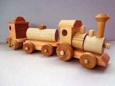 Wooden Toy Train Set - Heirloom Quality - Classic Toy - Hand Crafted -  All Natural -  Eco Friendly Kids Toy