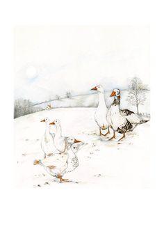 Geese bird print 8x11 illustration bird print от ChasingtheCrayon