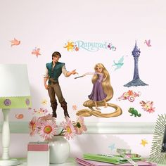 Disney Tangled Rapunzel Collage Peel & Stick Wall Stickers, Pink