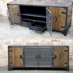 This Modern Industrial original design is a stunning piece that will make a long lasting impression in your living room, theater room, loft or office. Subtly masculine, built for strength, sleek and industrial all come together to create this unique and very functional media console.