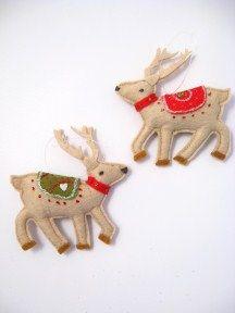 embroidered felt reindeer