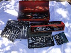 Vintage Tool Box filled with Tools assorted Ratchets, Sockets, Wrench's Drivers+ find me at www.dandeepop.com
