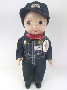 """Buddy Lee 13"""" All Orig 1949 Union Pacific Railroad Advertising Doll Jeans Hat EX #BuddyLee"""