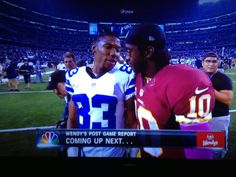Two Baylor football legends after battling it out on Sunday Night Football. TerranceWilliams, Baylor Class of 2012 // RGIII, Baylor Class of 2010