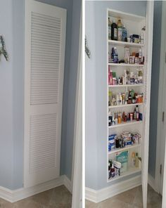 Full Size Medicine Cabinet Storage Idea is part of Wall cabinet Storage - We took an empty wall in our bathroom and created a recessed medicine cabinet with louvered door Magnet closure made it a cinch to open and access everything e… Bathroom Renos, Master Bathroom, Bathroom Ideas, Bathroom Cabinets, Bathroom Closet, Bathroom Vanities, Bathroom Tapware, Bathroom Green, Bathroom Renovations