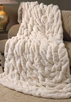 Ivory Mink Couture Faux Fur Throw Blankets