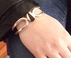 TAXCO Sterling Silver 925 Black Onyx stone inlay Mexico Jewelry Cuff Bracelet #Taxco