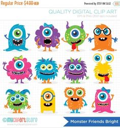 Monster Friends – Vector Clipart by MyClipArtStore on Creative Market - Obst Clipart Baby, Vector Clipart, Monster Party, Monster Birthday Parties, Monster Cupcakes, Cute Monsters, Little Monsters, Monster Clipart, Monster Vector