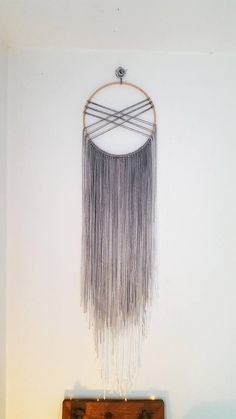 Large Boho grey/white yarn ombre Dream Catcher 10 Wall