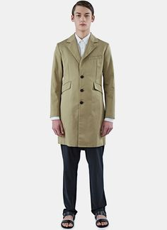 YANG LI Men's Single-Breasted Coat in Khaki. #yangli #cloth #
