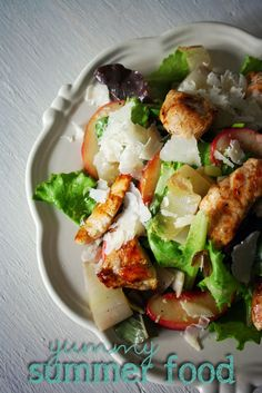 Late summer salad (peaches, caramelized endives and chicken)