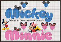 monograma completo aqui: http://dinhapontocruz.blogspot.com.br/2015/05/monograma-minnie-e-mickey-ponto-cruz.html