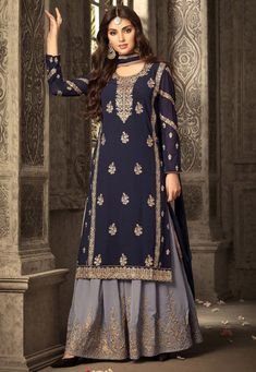 Party Wear Faux Georgette Sharara Suit in Dark Slate Blue Indian Attire, Indian Suits, Indian Ethnic Wear, Indian Dresses, Punjabi Suits, Streetwear, Mode Glamour, Sharara Suit, Designer Salwar Suits