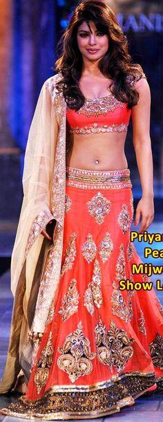 $215.09 Priyanka Mijwan Charity Show Peach Lehenga Choli 20373