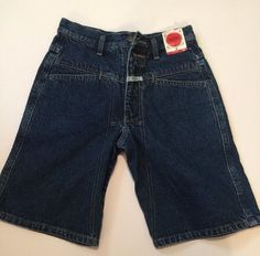 Marithe Francois Girbaud Dark Blue Denim Jean Shorts Size 12 Loose Fitting W Tag #Girbaud #Denim