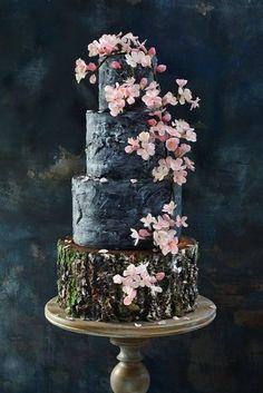 Cherry Blossom Wedding Cake by Nasa Mala Zavrzlama Black Wedding Cakes, Themed Wedding Cakes, Beautiful Wedding Cakes, Gorgeous Cakes, Amazing Cakes, Wedding Themes, Wedding Dresses, Wedding Venues, Cherry Blossom Cake