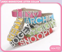 Large Rhinestone Letter Collar dog Accessories + Jewelry - Necklaces + Scarves - For BIG DOGS - Vinyl, PVC + Oilcloth - Celebrations + Miles...
