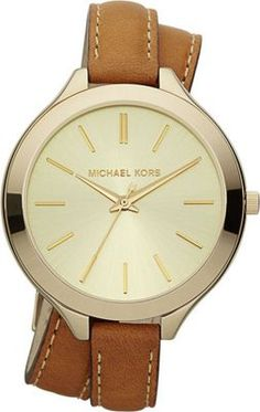 Keep it chic and classy with Michael Kors watch with brown leather strap.