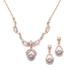 Mariell Rose Gold Vintage Crystal Necklace and Earrings Set - Retro Glamour f... #Mariell