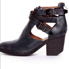 Jeffrey Campbell Everwell booties Edgy Jeffrey Campbell booties with wrap around buckle straps and a zipper in the back. Chunky heel with cutout detail. They're worn, as shown in the last picture, but still have a lot of life left in them! Jeffrey Campbell Shoes Ankle Boots & Booties