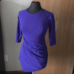 Purple Express 3/4 Sleeve Dress 3/4 Sleeve Dress with bunching around center section. 60% Cotton 40% Modal Express Dresses Midi