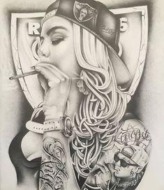 Wing Tattoo Men, Skull Girl Tattoo, Girl Face Tattoo, Girl Tattoos, Clock Tattoo Design, Tattoo Design Drawings, Tattoo Designs, Gangster Drawings, Chicano Drawings